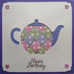 PAT377 Patchwork Teapot,White Panel, Green, Lilac & Pink Star Paper,Purple Square Card,Happy Birthday,Sqr Patchwork Card Kit (144mm x 144mm)