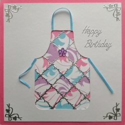 PAT378 Patchwork Apron,White Panel, Blue, Lilac & Pink Paper,Dark Pink Square Card,Happy Birthday,Sqr Patchwork Card Kit (144mm x 144mm)