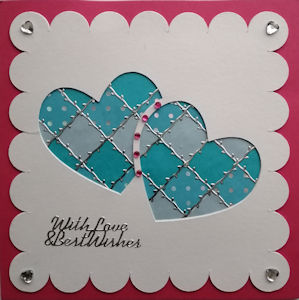 PAT379, Interlinked Hearts, White Scaloped Panel,on Raspberry Square With Love & Best Wishes Sqr Patchwork Card Kit (144mm x 144mm)