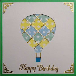 PAT381, Hot Air Balloon White Panel,on Dark Green Square, Yellow, Blue & Green Star Paper, Happy Birthday Sqr Patchwork Card Kit (144mm x 144mm)