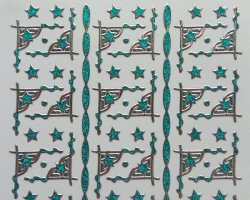 PO1236STU, Silver on Turquoise Glitter Star Corner peel off