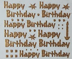 PO1239GLG, Gold Glitter Happy Birthday peel off