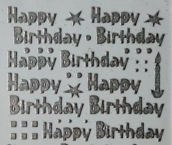 PO1239SS, Silver Glitter Happy Birthday peel off