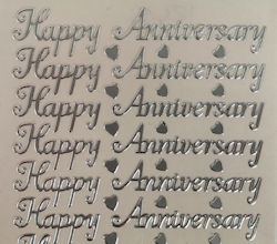 PO1265, Silver Happy Anniversary Peel off (contains 16 word pairs per sheet)