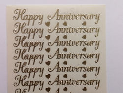 PO1266, Gold Happy Anniversary Peel off (contains 16 word pairs per sheet)